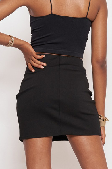 Jupe taille haute front slit