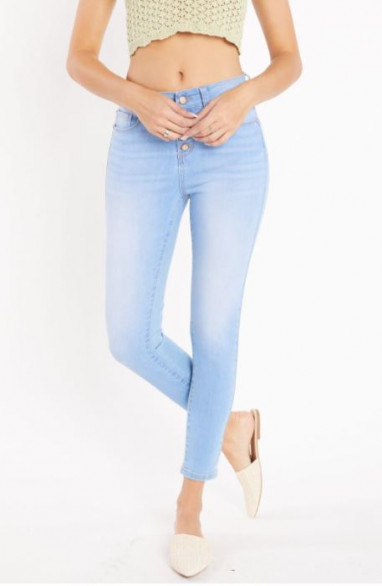 Jean slim taille haute boutons